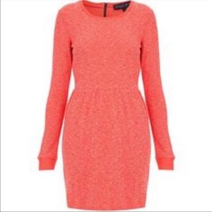 Topshop long sleeve Boucle texture sweater dress
